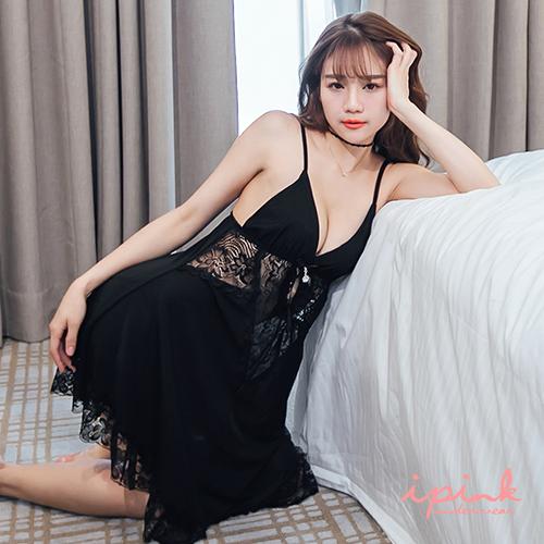 i PINK 私密戀史 奢華蕾絲網紗連身裙睡衣(黑)
