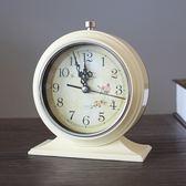 鬧鐘歐式復古創意簡約學生床頭鐘靜音臺鐘金屬時尚夜光xx7624【每日三C】