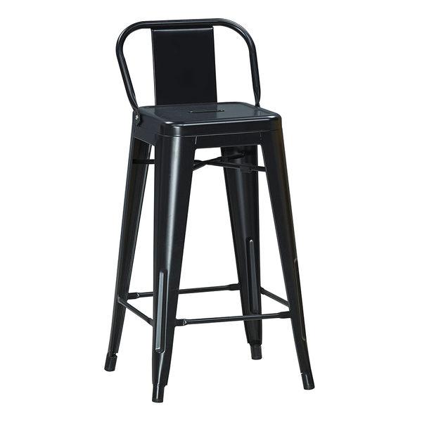 【森可家居】工業風鐵高吧椅(黑色) 7JX249-6 吧檯椅