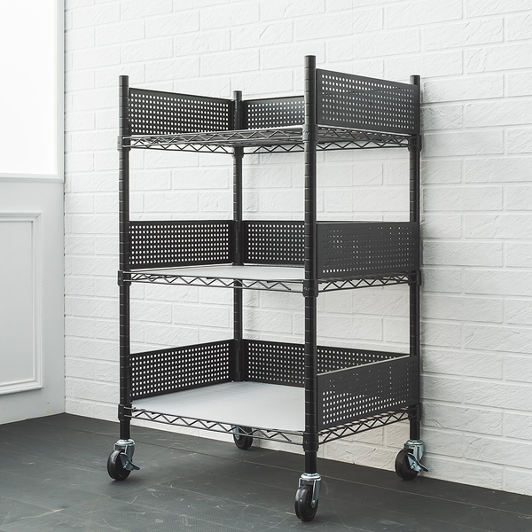 收納架/推車60X45X90cm 廚房推車收納架 (含圍籬組 透白PP板 工業輪) dayneeds