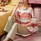 彩色配條刺繡家居服套裝(上衣+長褲)-中大尺碼 獨具衣格 J3653