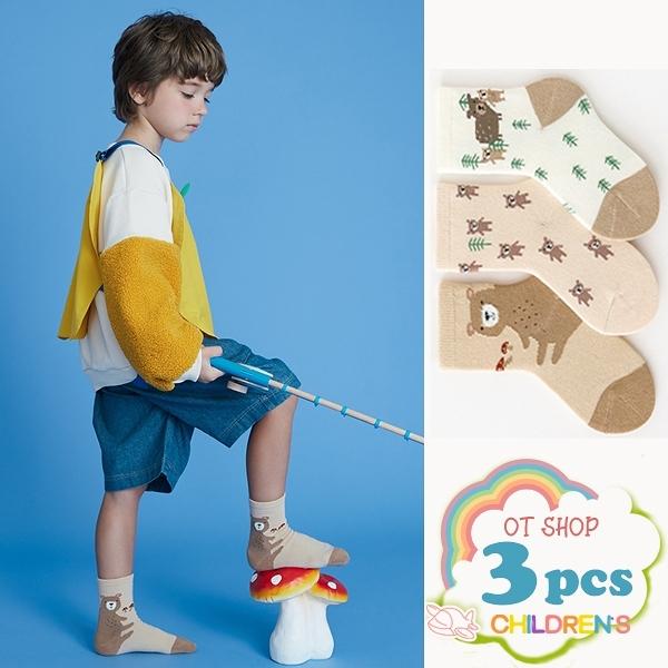 OT SHOP [現貨] 三入組 兒童襪 男女童 襪子 中筒襪 運動襪 卡通 動物 小熊圖案 復古文青色系 M6023