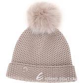 Loro Piana 100%喀什米爾可可灰棕狐狸毛球粗針織毛線帽 1820532-C5