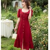 美胸窄肩設計排釦長連身魚尾裙*約會宴會服飾[88008-QF]美之札