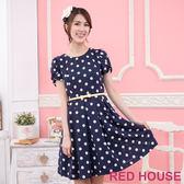 【RED HOUSE-蕾赫斯】波卡點點蝴蝶結腰帶洋裝(共二色)