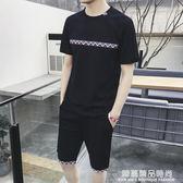短袖T恤男夏季新款五分褲運動休閒一套裝男帥氣潮流衣服薄款夏天