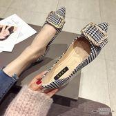 大碼低跟 布面金屬扣淺口尖頭平跟平底單鞋35-41 - 古梵希鞋包