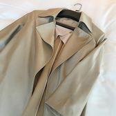 外套大碼女裝寬鬆長款翻領簡約風衣【極簡生活館】
