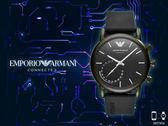 【時間道】EMPORIO ARMANI CONNECTED HYBRID時尚指針式智能腕錶/橄欖綠殼黑膠帶 (ART3016)免運費