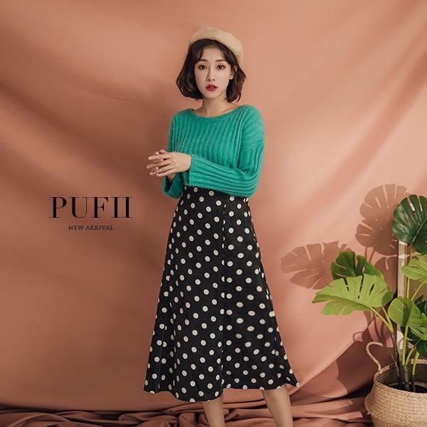 (現貨-粉/黑)PUFII-中長裙 點點鬆緊高腰傘擺燈芯絨中長裙 3色-1025 現+預 秋【CP15426】