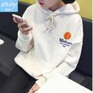 【V9051】shiny藍格子-簡單休閒.印花字母連帽刷毛長袖上衣