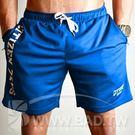 奢華壞男《潮男字母彈性透氣健身運動拉鍊五分褲》藍【M / L / XL / 2XL 】