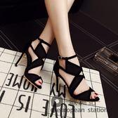 涼鞋/魚口網紗女夏季羅馬綁帶高跟鞋鏤空露趾細跟「歐洲站」