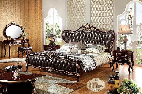 [紅蘋果傢俱] HT-801-1 新古典 實木雕花 歐式床 五尺/六尺 雙人 床架 床台 工廠直營