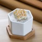 CARMO六角陶瓷盆+竹製托盤花盆組【BI11006】