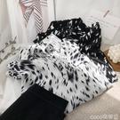 熱賣印花襯衫 時髦休閒印花長袖翻領襯衫女秋寬鬆顯瘦斑馬紋襯衣上衣 coco