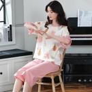 睡衣女夏季純棉短袖七分褲薄款韓版學生全棉家居服可外穿兩件 快速出貨