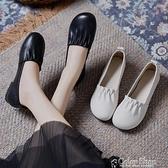平底單鞋女秋季2021新款淺口圓頭真軟皮軟底平跟媽媽鞋豆豆鞋女鞋 快速出貨