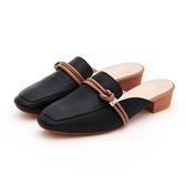 MICHELLE PARK 森林少女 方頭結飾線條羊皮穆勒鞋-黑