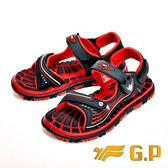 【G.P】可拆式快樂磁扣兩用涼鞋 童鞋-黑紅(另有淺藍)