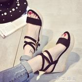 厚底涼鞋厚底楔形涼鞋高跟防水台厚底黑色露趾交叉時尚涼鞋女學生鞋 小艾時尚