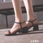低跟涼鞋一字扣帶高跟鞋女百搭中跟方頭漆皮露指粗跟羅馬涼鞋簡約 金曼麗莎