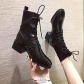 馬丁靴 女粗跟英倫風新款襪靴短靴中跟網紅高跟彈力瘦瘦靴 - 古梵希