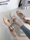 包頭涼鞋女中跟粗跟韓版百搭兩穿鞋中空方頭...