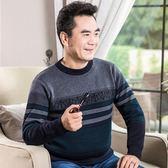 針織衫-圓領條紋舒適保暖中老年男毛衣3色73qf13[巴黎精品]