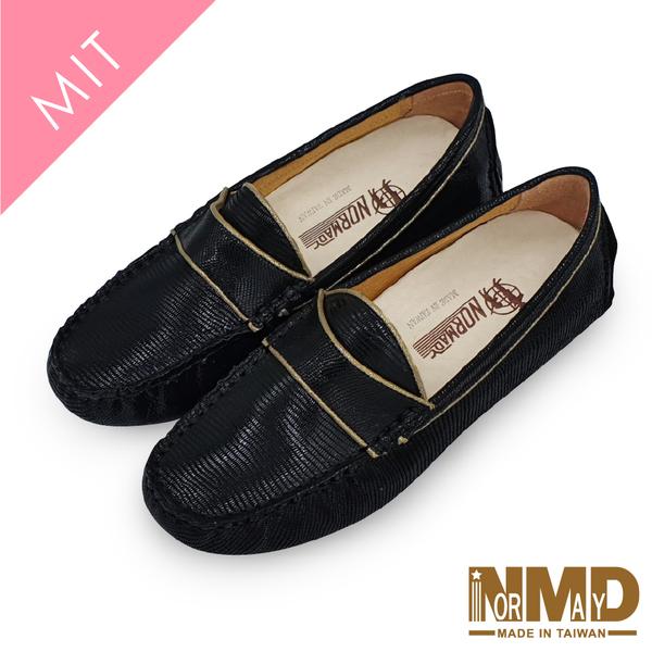 真皮豆豆鞋 樂福鞋 維納斯優雅金線內增高真皮樂福休閒豆豆鞋-MIT手工鞋(知性黑) Normady 諾曼地