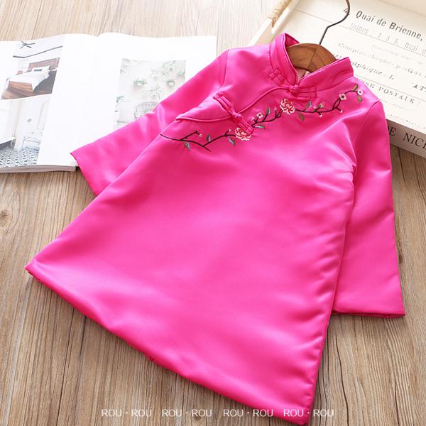女童旗袍洋裝。ROUROU童裝。冬季女童中小童中國風加絨緞面繡花旗袍洋裝 新年過年 0246-173