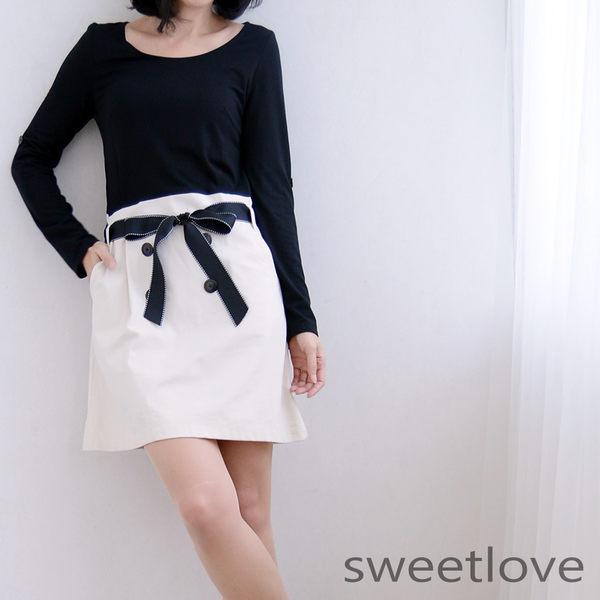 sweetlove黑上衣米色絲棉裙擺釦飾造型腰帶洋裝