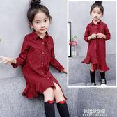 女童洋裝 女童秋裝新款洋裝中大童小女孩洋氣裙子兒童秋季長袖格子裙  朵拉朵衣櫥