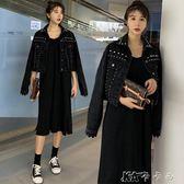 流行外套女春季釘珠黑色寬鬆時髦牛仔外套短款高腰小外套 卡卡西