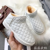 女雪地靴 雪地靴女2019新款時尚一腳蹬棉鞋冬季平底加絨短靴學生短筒女靴子 雙11