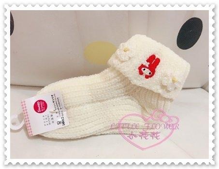 ♥小花花日本精品♥Hello Kitty 美樂蒂Melody魔術襪棉襪毛襪保暖襪白色大臉花朵日本限定 77702005