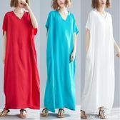 長裙 洋裝 mm遮肚中大尺碼 女裝洋氣波西米亞文藝棉質減齡寬鬆中長款連衣裙