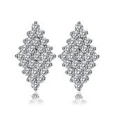 耳環 純銀鍍白金 鑲鑽-個性菱形生日情人節禮物女飾品73cr115【時尚巴黎】
