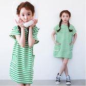 夏季女童條紋T恤裙兒童大碼短連身裙