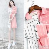 連身裙 女夏2020年新款女裝條紋收腰雪紡連身裙夏裝仙女超仙甜美顯瘦裙子 爾碩數位