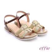 effie 個性涼夏 絨面真皮圓楦羅馬小坡跟涼鞋  黃