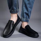 懶人鞋 春季白色豆豆鞋男夏季鏤空皮鞋男韓版真皮懶人鞋一腳蹬男 唯伊時尚