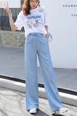 高腰天絲牛仔褲女超薄款長褲秋季寬鬆垂墜感冰絲闊腿拖直筒褲『艾麗花園』