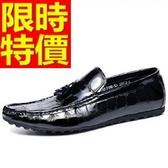 豆豆鞋-透氣英倫漆皮鱷魚紋真皮懶人男休閒鞋2色65k2【巴黎精品】