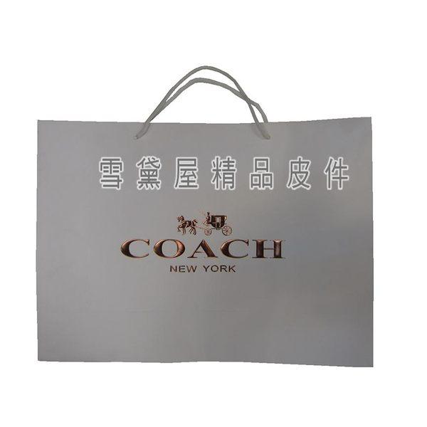 ~雪黛屋~COACH 紙袋國際正版男女包紙提袋進口厚紙材質可摺疊收納展開為提袋大型可放A4資料夾#9136