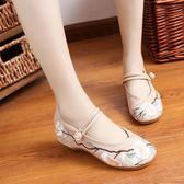 推薦布鞋女夏低跟古風漢服鞋子內增高一字扣帶民族風坡跟繡花鞋(818來一發)