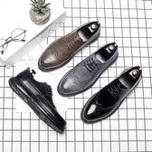 男皮鞋 保暖男鞋子 淘尖頭皮鞋男士休閒鞋韓版男鞋系帶英倫潮鞋休閒皮鞋《印象精品》q608