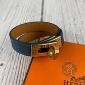 BRAND楓月 HERMES 愛馬仕 T刻 湖水藍金扣 KELLY手環 #XS 皮革手環 雙圈手環 手圈 經典造型 配飾