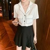 短袖襯衫雪紡上衣好質量小眾設計感白色短袖襯衫女寬松韓版上衣翻領襯衣夏FFA027快時尚