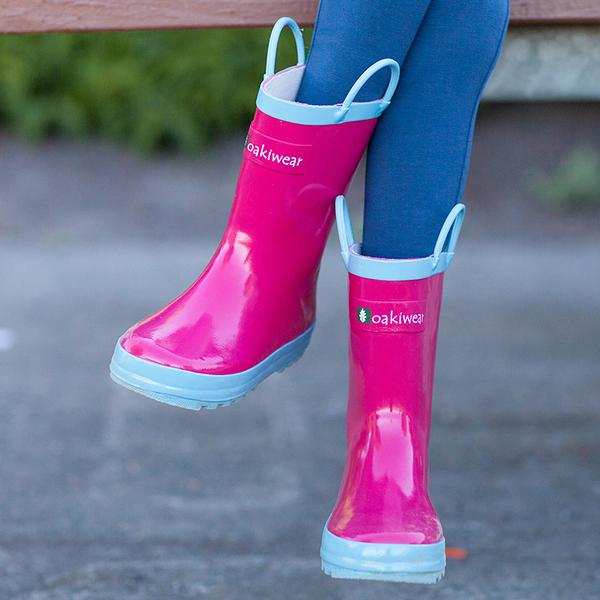 【美國OAKI】兒童提把雨鞋 11528 玫瑰粉